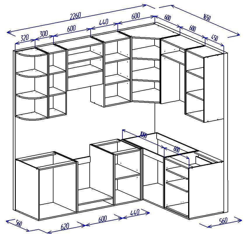 Как сделать угловой шкаф для кухни 833
